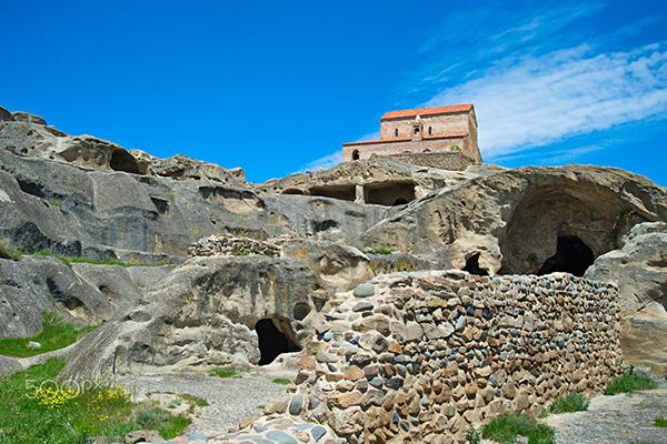 Uplistsikhe is an ancient rock-hewn town with Uplistsulis Eklesia, Princes Church. Uplistsikhe, Georgia,